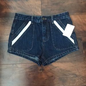 NWT - Free People Dark wash denim shorts with lace